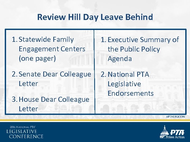 Review Hill Day Leave Behind 1. Statewide Family Engagement Centers (one pager) 1. Executive