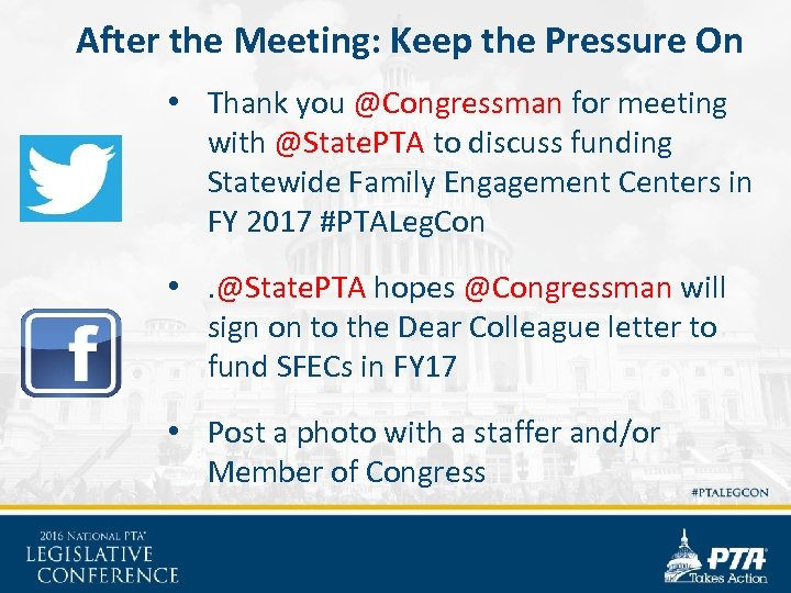 After the Meeting: Keep the Pressure On • Thank you @Congressman for meeting with