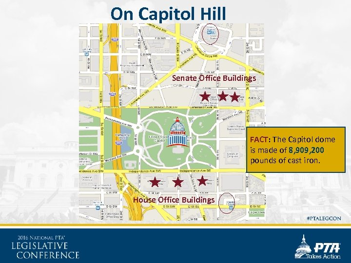 On Capitol Hill Senate Office Buildings FACT: The Capitol dome is made of 8,