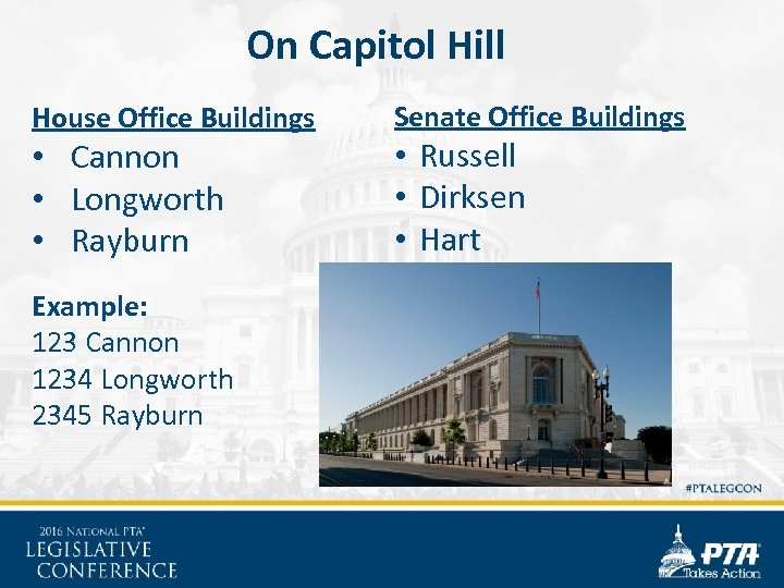 On Capitol Hill House Office Buildings • Cannon • Longworth • Rayburn Example: 123