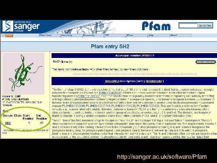 http: //sanger. ac. uk/software/Pfam