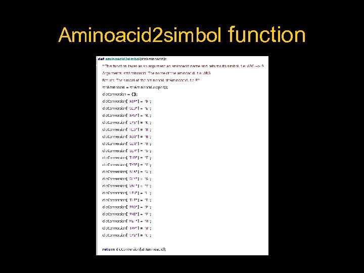 Aminoacid 2 simbol function