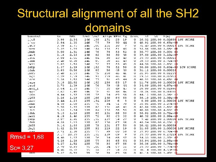 Structural alignment of all the SH 2 domains Rmsd = 1, 68 Sc= 3,
