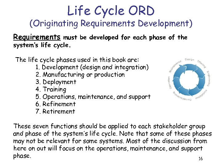 Life Cycle ORD (Originating Requirements Development) Requirements must be developed for each phase of