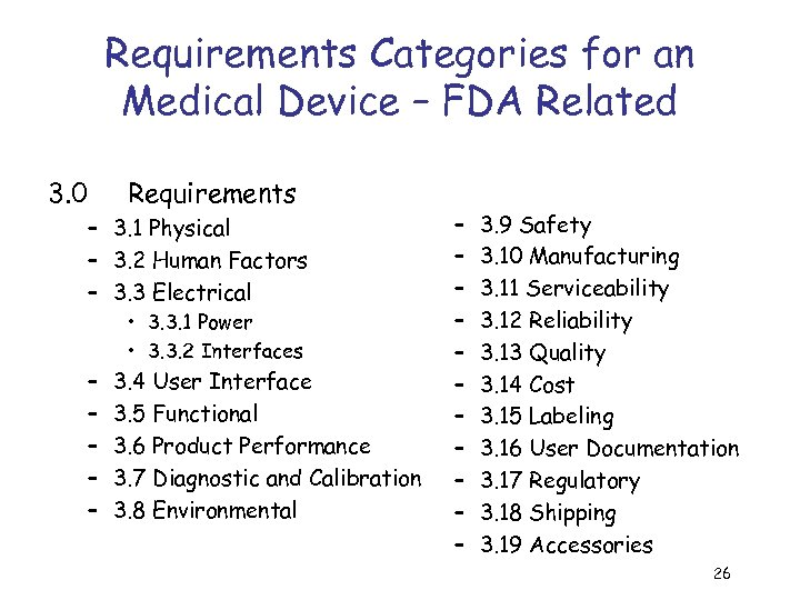 Requirements Categories for an Medical Device – FDA Related 3. 0 Requirements – 3.