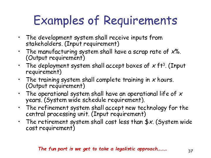 Examples of Requirements • The development system shall receive inputs from stakeholders. (Input requirement)