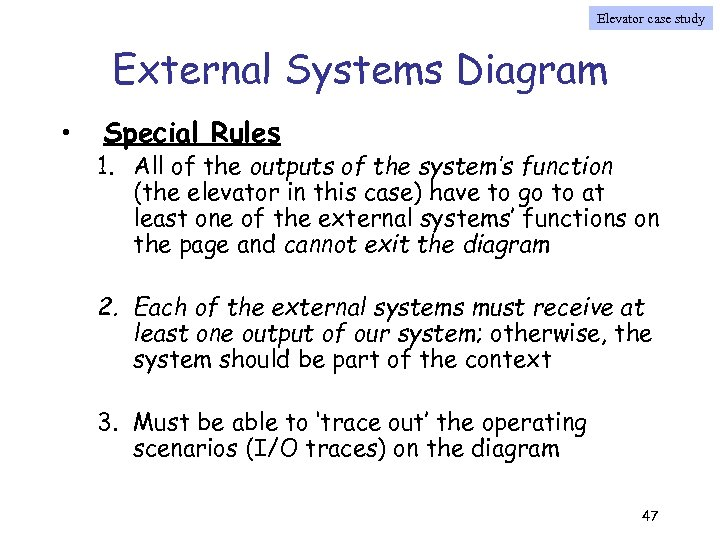 Elevator case study External Systems Diagram • Special Rules 1. All of the outputs