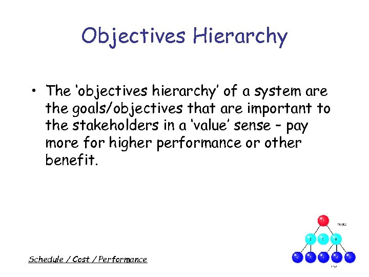 Objectives Hierarchy • The 'objectives hierarchy' of a system are the goals/objectives that are