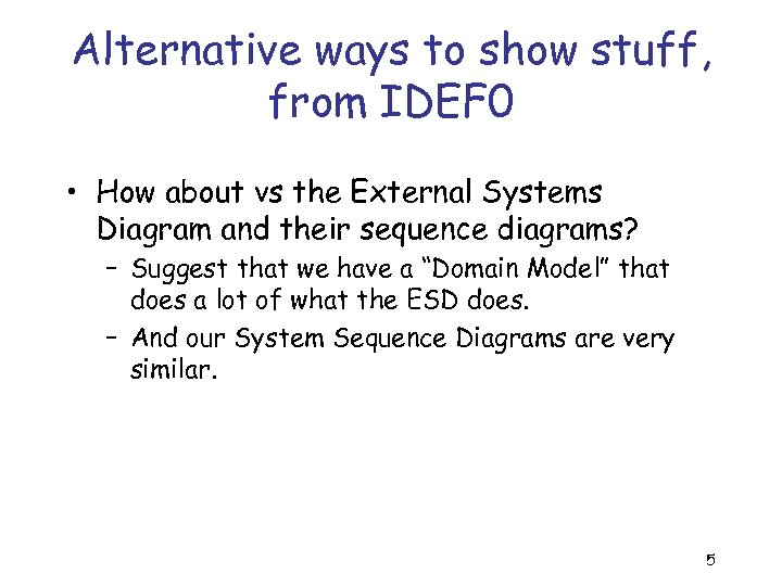 Alternative ways to show stuff, from IDEF 0 • How about vs the External