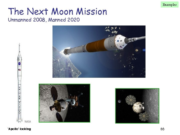The Next Moon Mission Examples Unmanned 2008, Manned 2020 'Apollo' looking 86