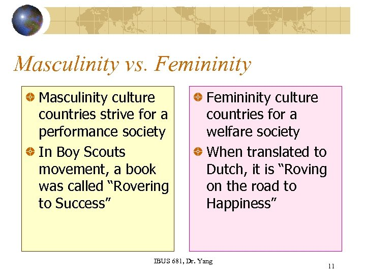 Masculinity vs. Femininity Masculinity culture countries strive for a performance society In Boy Scouts