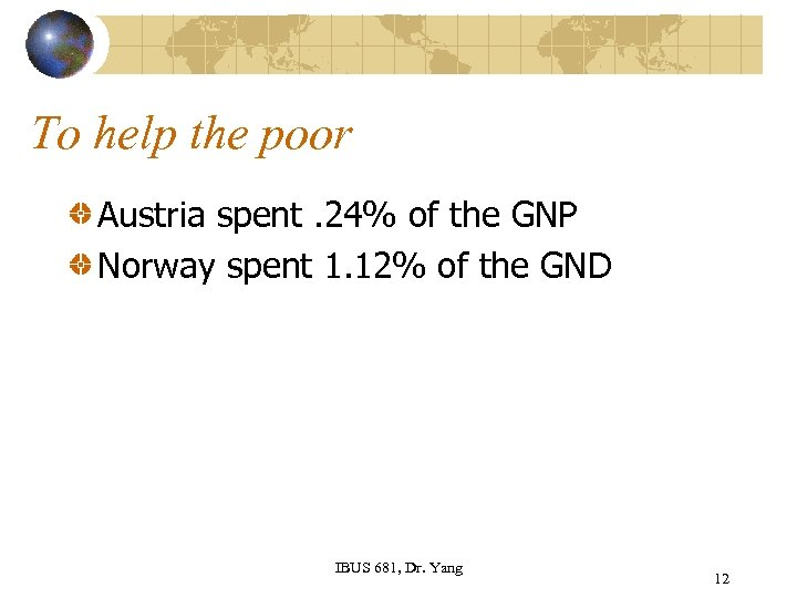 To help the poor Austria spent. 24% of the GNP Norway spent 1. 12%