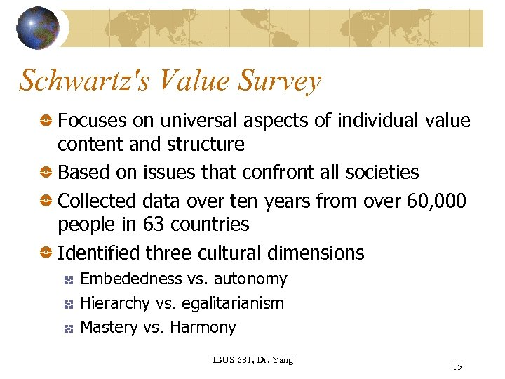 Schwartz's Value Survey Focuses on universal aspects of individual value content and structure Based