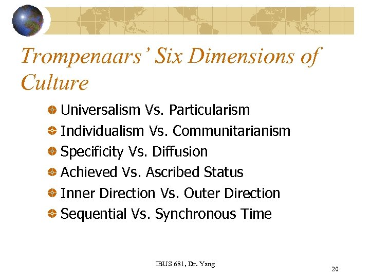 Trompenaars' Six Dimensions of Culture Universalism Vs. Particularism Individualism Vs. Communitarianism Specificity Vs. Diffusion