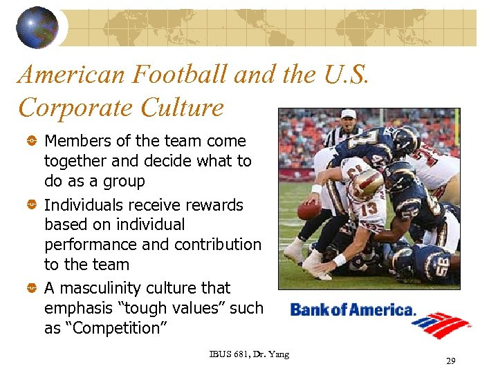 American Football and the U. S. Corporate Culture Members of the team come together