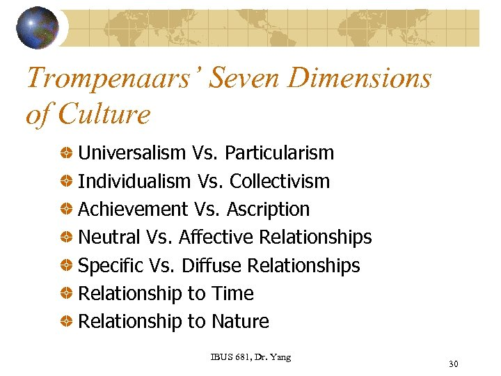 Trompenaars' Seven Dimensions of Culture Universalism Vs. Particularism Individualism Vs. Collectivism Achievement Vs. Ascription