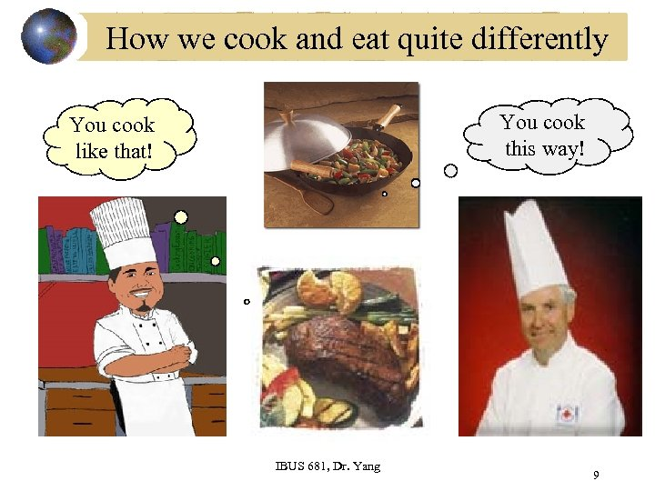 How we cook and eat quite differently You cook this way! You cook like