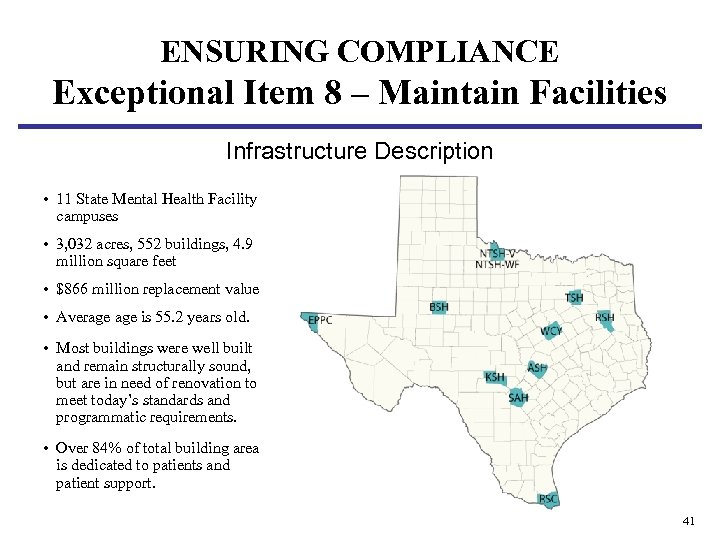 ENSURING COMPLIANCE Exceptional Item 8 – Maintain Facilities Infrastructure Description • 11 State Mental