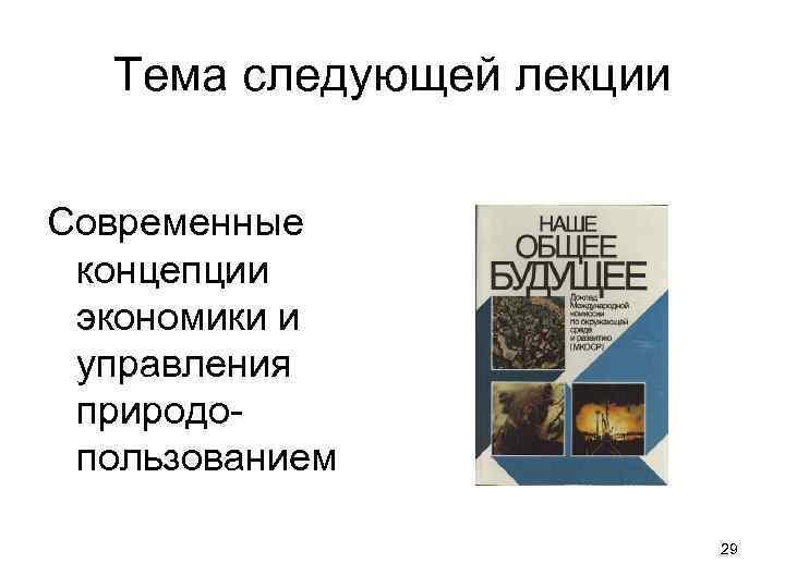 Тема следующей лекции Современные концепции экономики и управления природопользованием 29