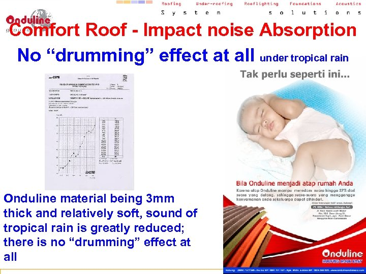 """Comfort Roof - Impact noise Absorption No """"drumming"""" effect at all under tropical rain"""