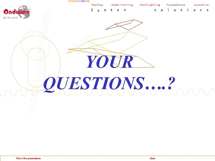 YOUR QUESTIONS…. ? Title of the presentation Date