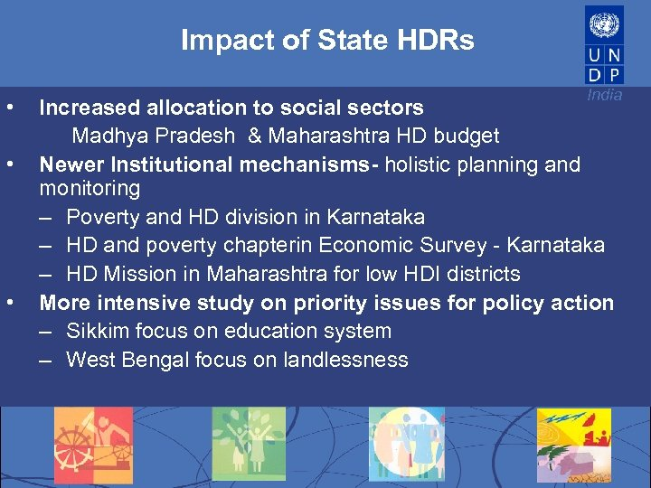 Impact of State HDRs • • • India Increased allocation to social sectors Madhya