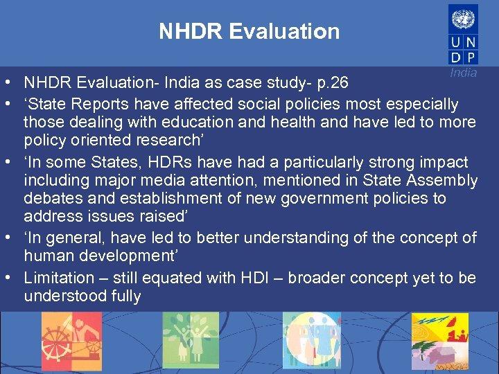 NHDR Evaluation India • NHDR Evaluation- India as case study- p. 26 • 'State