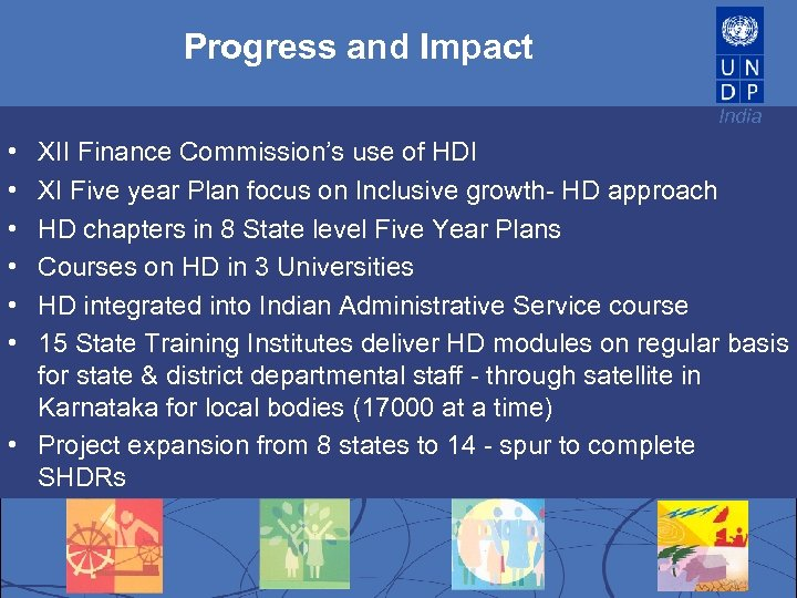 Progress and Impact India • • • XII Finance Commission's use of HDI XI