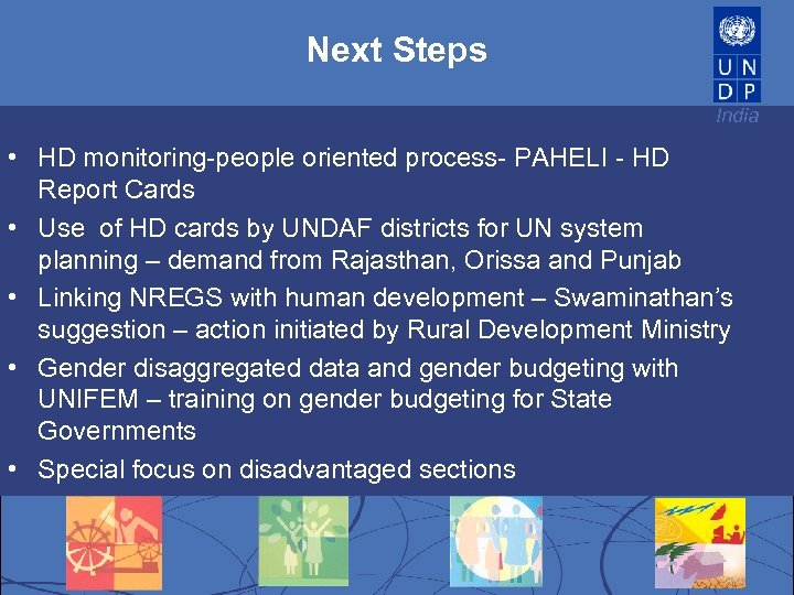 Next Steps India • HD monitoring-people oriented process- PAHELI - HD Report Cards •