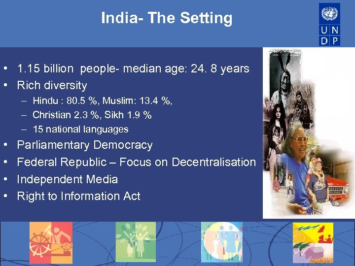 India- The Setting India • 1. 15 billion people- median age: 24. 8 years