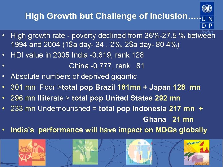 High Growth but Challenge of Inclusion…. . India • High growth rate - poverty