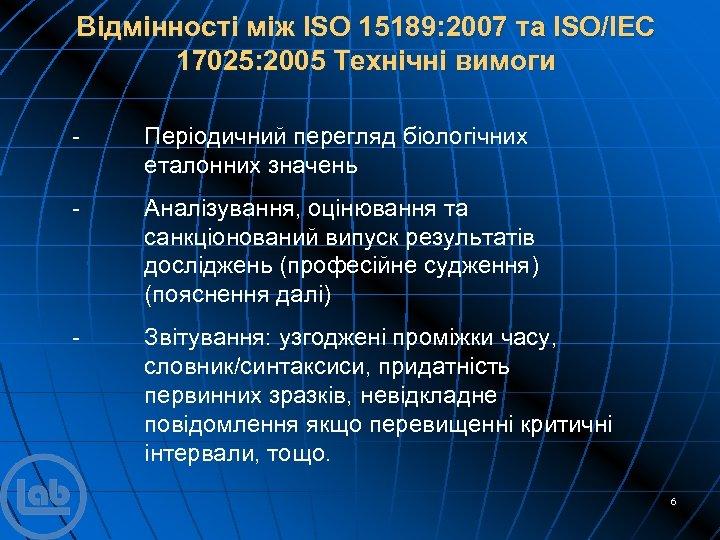 Відмінності між ISO 15189: 2007 та ISO/IEC 17025: 2005 Технічні вимоги - Періодичний перегляд