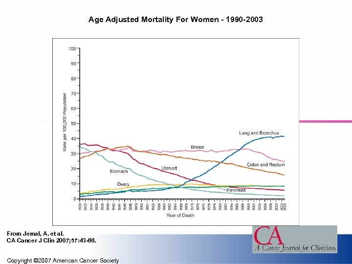 Age Adjusted Mortality For Women - 1990 -2003 From Jemal, A. et al. CA