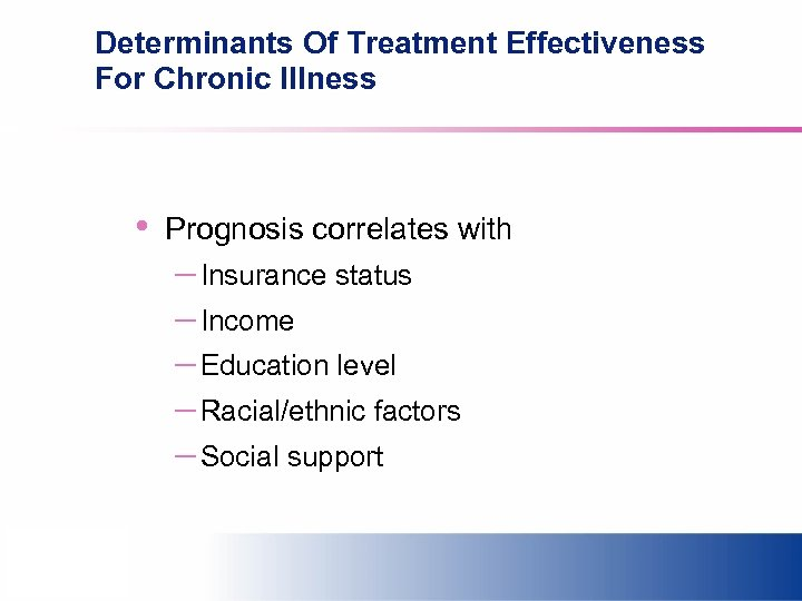 Determinants Of Treatment Effectiveness For Chronic Illness • Prognosis correlates with – Insurance status