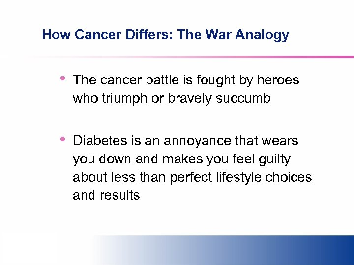 How Cancer Differs: The War Analogy • The cancer battle is fought by heroes