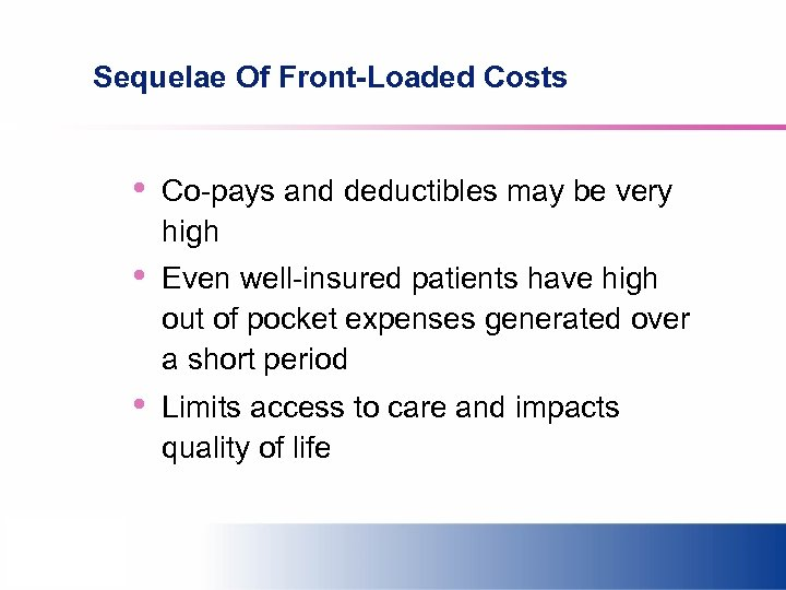 Sequelae Of Front-Loaded Costs • Co-pays and deductibles may be very high • Even