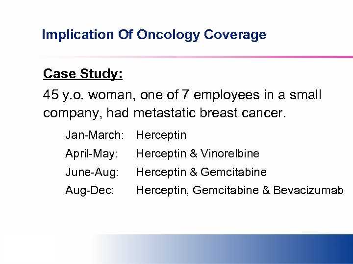 Implication Of Oncology Coverage Case Study: 45 y. o. woman, one of 7 employees