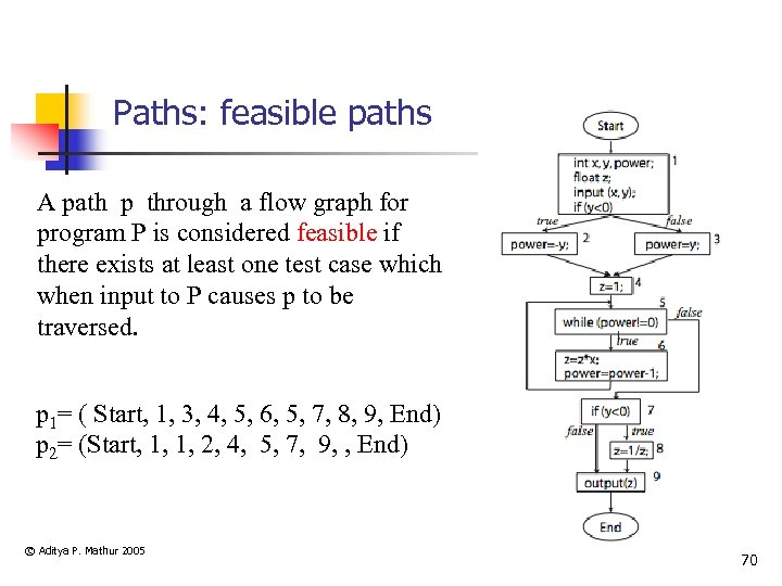 Paths: feasible paths A path p through a flow graph for program P is