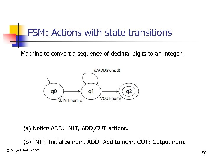 FSM: Actions with state transitions Machine to convert a sequence of decimal digits to