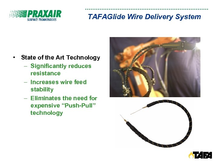 TAFAGlide Wire Delivery System • State of the Art Technology – Significantly reduces resistance