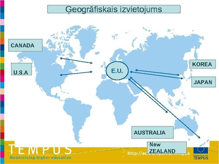 Ģeogrāfiskais izvietojums CANADA KOREA U. S. A. E. U. JAPAN AUSTRALIA New ZEALAND