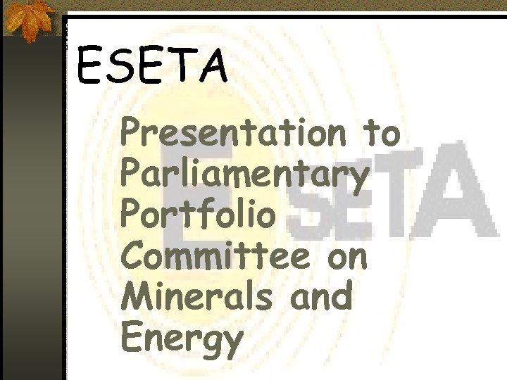 ESETA Presentation to Parliamentary Portfolio Committee on Minerals and Energy