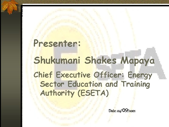 Presenter: Shukumani Shakes Mapaya Chief Executive Officer: Energy Sector Education and Training Authority (ESETA)