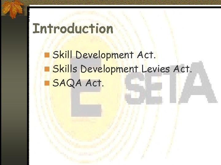 Introduction n Skill Development Act. n Skills Development Levies Act. n SAQA Act.