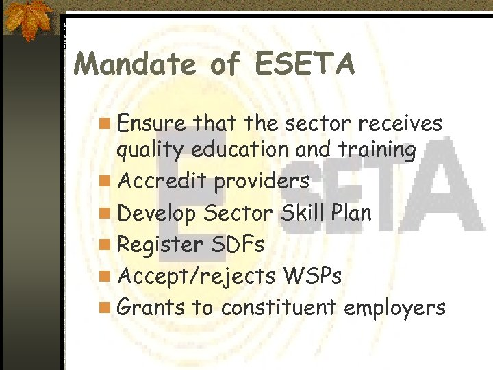 Mandate of ESETA n Ensure that the sector receives quality education and training n
