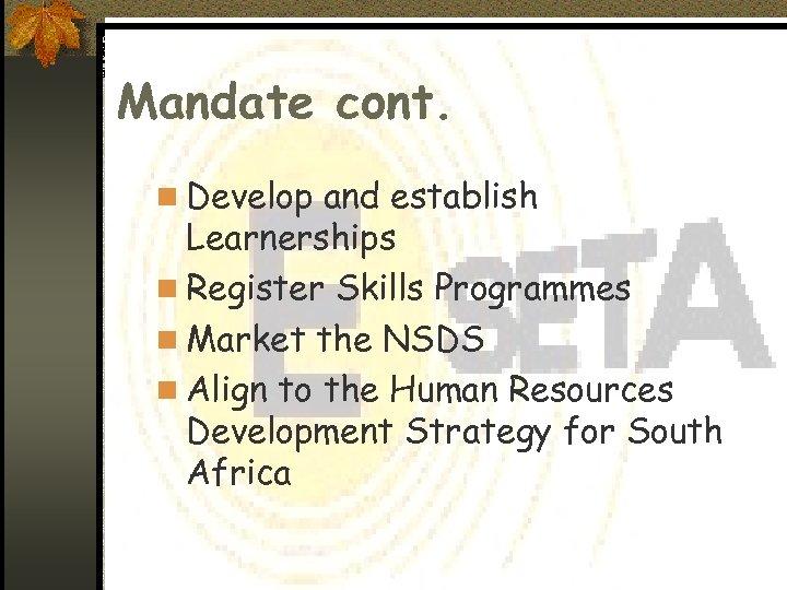 Mandate cont. n Develop and establish Learnerships n Register Skills Programmes n Market the