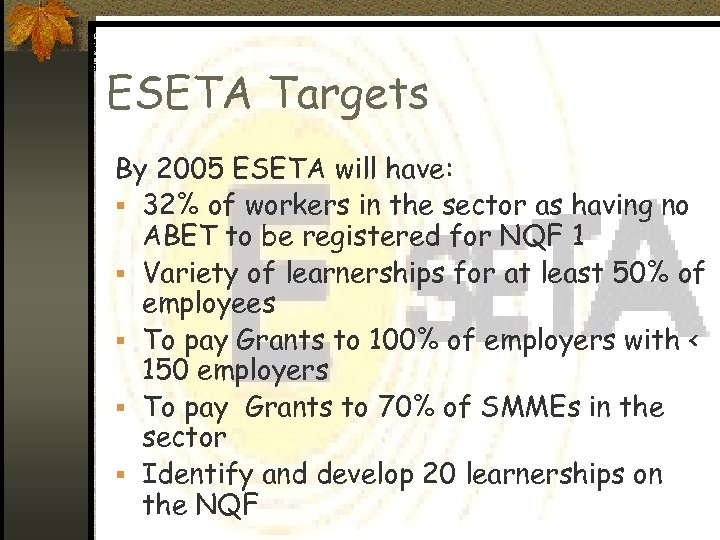 ESETA Targets By 2005 ESETA will have: § 32% of workers in the sector