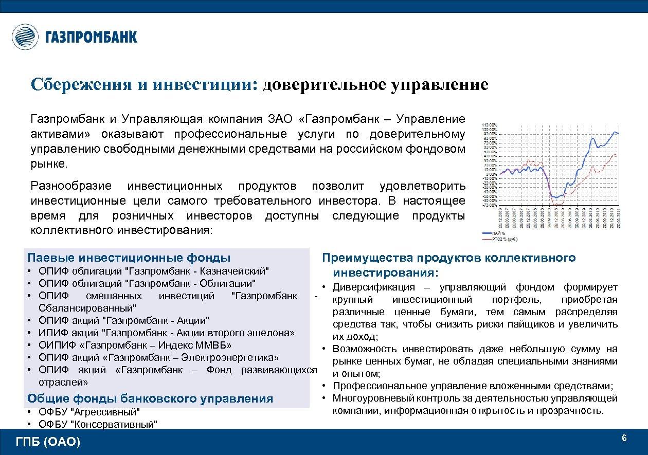 Сбережения и инвестиции: доверительное управление Газпромбанк и Управляющая компания ЗАО «Газпромбанк – Управление активами»