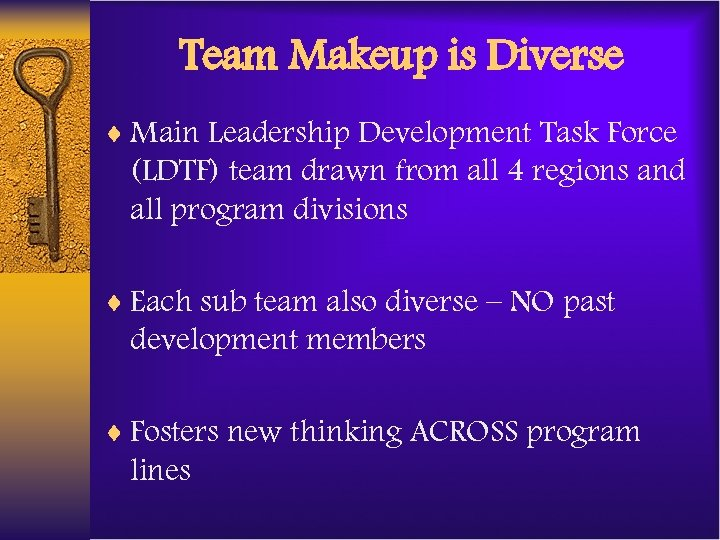 Team Makeup is Diverse ¨ Main Leadership Development Task Force (LDTF) team drawn from