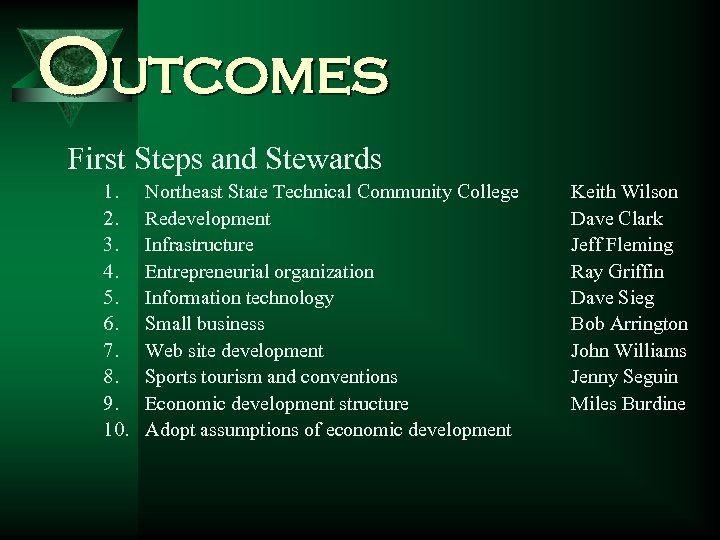 Outcomes First Steps and Stewards 1. 2. 3. 4. 5. 6. 7. 8. 9.